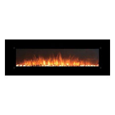 "Onyx XL 72"" Wide Wall Mounted Electric Fireplace with Log Set, Black"