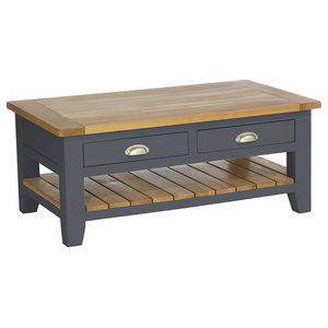 2-Drawer Rectangular Coffee Table, Dark Grey