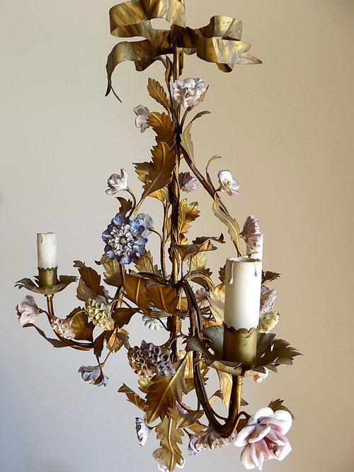 - Antique Italian Porcelain And Tole Chandelier