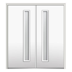 "Frosted 1-Lite Fiberglass Smooth Double Door 74""x81.75"" Right Hand In-swing"