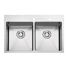 """Overmount Stainless Steel 2-Hole Kitchen Sink, 33"""", Double Bowl"""