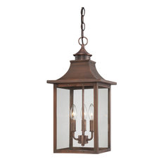 St. Charles Collection Hanging Lantern 3-Light Outdoor Light, Copper Patina