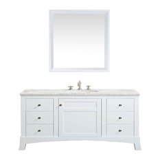 New York Vanity With Carrera Marble Counter Top and Sink, White, 48""