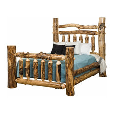 Rustic Aspen Log Grand Double Top Rail Bed, King Size