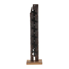 Rustic Wood and Iron Standing Wine Holder, 6-Bottle