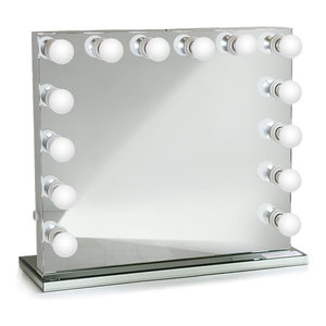 2 Sided Makeup Mirror With 4 Light Settings Contemporary