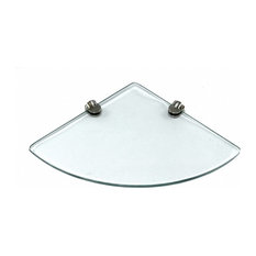 "9""x9"" Floating Corner Glass Shelf Flat 8mm, Glass, 1 Shelf"
