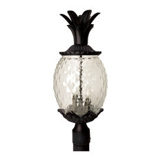 Lanai 3-Light Post, Matte Black/Clear Pineapple Glass
