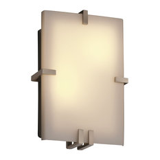 Justice Designs Fusion Clips Rectangle Wall Sconce, Brushed Nickel