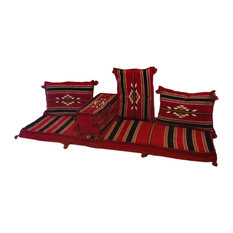 Abha 5-Piece Floor Seating Set, Traditional Arabic Red, Foam Filled
