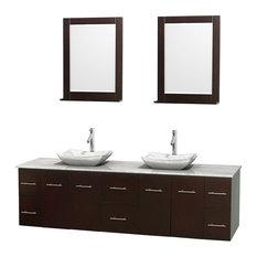 "80"" Double Bathroom Vanity in Espresso, White Carrera Marble Countertop, Mirror"