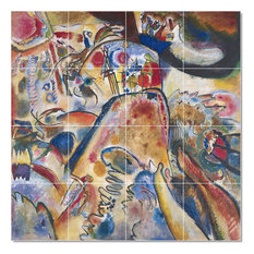 "Wassily Kandinsky Abstract Painting Ceramic Tile Mural #63, 48""x48"""