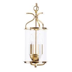 Visconte Salisbury 2 Light Ceiling Pendant Lantern, Polished Brass