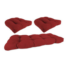 3 Piece Wicker Set, 1 Settee & 2 Seats, Red color