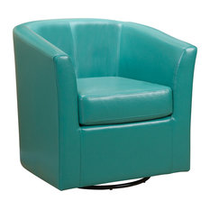 GDFStudio   Corley Turquoise Leather Swivel Club Chair   Armchairs And  Accent Chairs