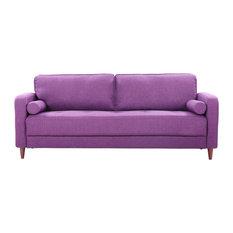 Mid Century Modern Linen Fabric Living Room Sofa, Purple