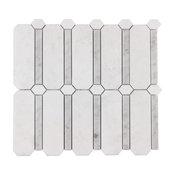 MTO0305 Modern Designer Gray White Natural Thassos Carrara Marble Mosaic Tile