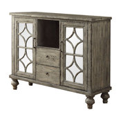 Console Table With 2 Doors and 2 Drawers, Weathered Gray