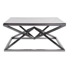 HOWARD ELLIOTT PINNACLE Coffee Table Black Polished Nickel Smoke