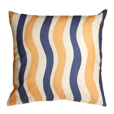 Pillow Decor - Country Stripes Blue and Yellow 20 x 20 Throw Pillow