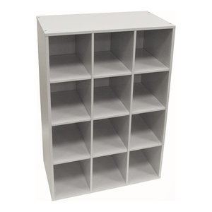 Pigeon Hole 12 Pair Shoe Display/Media Shelf, White