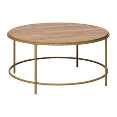 """Sauder International Lux 36"""" Round Wood Top Coffee Table in Sindoori Mango"""