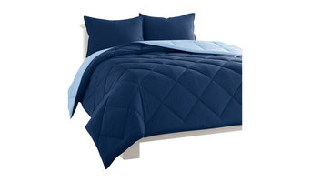 Dayton 3-Piece Reversible Quilted Comforter Navy and Blue Set, Full