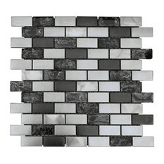 """12""""x12"""" Stainless Steel Metal and Crackle Glass Mosaic Tile"""