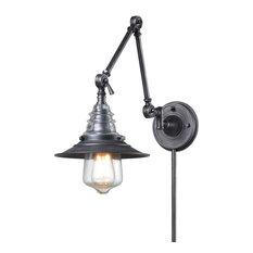 Elk - Insulator Glass 1-Light Swing Arm Sconce In Weathered Zinc - Swing Arm