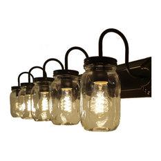lamps clear quart mason jar vanity 5light bathroom vanity lighting