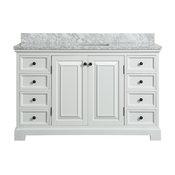 Spencer White Bathroom Vanity, 55.5''