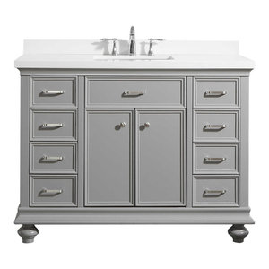 """Charlotte Vanity with Carrara Quartz Stone Top, Grey, 48"""", Without Mirror"""