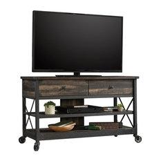 Sauder Steel River 49-inch Mobile TV Cart In Carbon Oak And Black