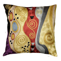 """Klimt Tree of Life Accent Pillow Cover Hand Embroidered, 18""""x18"""""""
