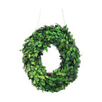 """Modern Home 12"""" Real Preserved Boxwood Monogram Wreath Letters - O"""