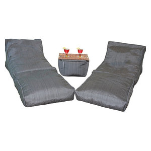 Noir Lounger Set 2 1 Ottoman Noir By Modern Bean Bags Best