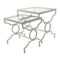 38.5-inch X 43.5-inch X 43-inch Silver With Tempered Glass -2Pcs Nesting Table Set