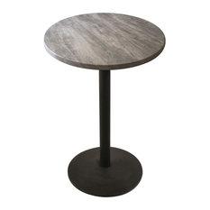 "OD214 Black Table with 30"" Diameter Indoor/Outdoor Greystone Top, 36"""