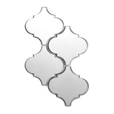 """Reflections 9""""x14"""" Mirror Arabesque Waterjet Mosaic Wall Tile Silver Glossy"""