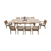 """11-Piece Outdoor Teak Dining Set: 117"""" Rectangle Table, 10 Arbor Stacking Chairs"""
