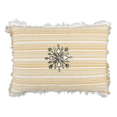 Yellow-White Stripe Fringe Pillow, Removable Holiday Pin, Goldsnow
