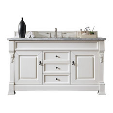 "Brookfield 60"" Cottage White Single Vanity w/ 2cm Carrara White Marble Top"