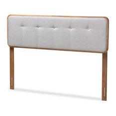 Haylie Light Gray Fabric Upholstered Walnut Brown Wood King Headboard
