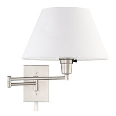 "Kira Home Cambridge 13"" Swing Arm Wall Lamp - Plug In/Wall Mount, Brushed Nickel"