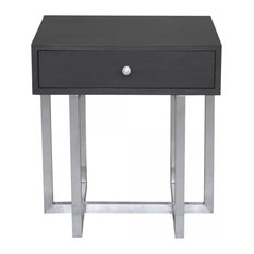 Armen Living - Armen Living Knight 1-Drawer Nightstand, Gray and Silver - Nightstands and Bedside Tables