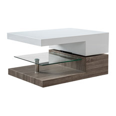 GDF Studio Emerson Rectangular Mod Swivel Coffee Table With Glass