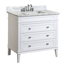 "Kitchen Bath Collection - Eleanor Bathroom Vanity, White, With Carrara Top, 36"" - Bathroom Vanities and Sink Consoles"