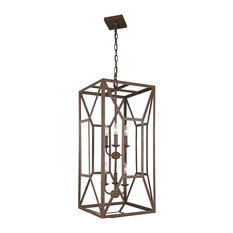 Feiss 6-Light Foyer Chandelier, Weathered Iron