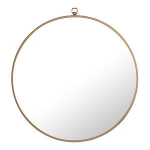 "24"" Round Metal Frame Mirror With Decorative Hook, Brass"