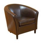 GDF Studio Newport Brown Leather Club Chair